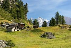 Pastoral landscape in the Swiss Alps Stock Image