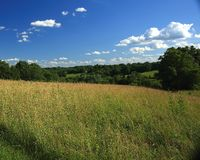 Pastoral Missouri Scene. Gently rolling hills of pasture in Missouri River Basin Royalty Free Stock Image
