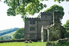 Pastoral paradise at North Lees Hall, near Stannage Edge, in Haversage. Taken on a sunny spring day, this captures a beautiful pastoral and picturesque view royalty free stock photo