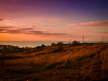 Pastoral Sunset Landscape On Seaside Stock Photography
