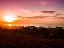Pastoral Sunset Landscape On Seaside Royalty Free Stock Images