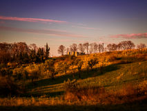 Pastoral Sunset Landscape In The Spring Stock Images