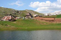 Pastoral village in mountains. Detail of pastoral village on Bjelasnica mountain, Bosnia and Herzegovina stock photos