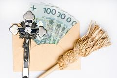 Pastoral visit after the holidays of Christmas called Koleda. Devotional articles: cross, aspergill and money donation. royalty free stock photography