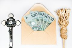 Pastoral visit after the holidays of Christmas called Koleda. Devotional articles: cross, aspergill and money donation. stock photography