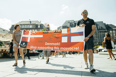 Pastore del mare che protesta contro l'arresto delle balene pilota di macello di Fotografie Stock