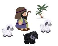 Pastore e pecore, insieme di simboli Immagine Stock