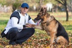 Pastore tedesco del cane della tenuta dell'uomo Fotografie Stock