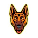 Pastore tedesco Dog Head Front Mascot Illustrazione Vettoriale