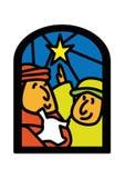 Pastores de la ventana de la Navidad Imágenes de archivo libres de regalías