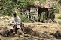 Pastores e fazendeiros em Etiópia Fotografia de Stock