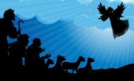 Pastores e silhueta do anjo ilustração royalty free