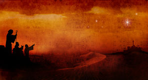 Pastores a través del desierto Fotos de archivo
