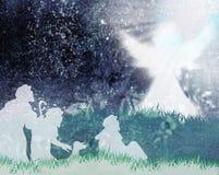Pastores y silueta del ángel Foto de archivo libre de regalías