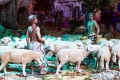 Pastori con un gregge delle pecore Fotografia Stock
