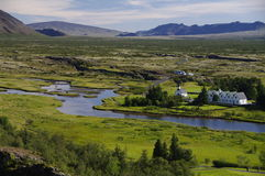 Pastorie en Kerk in Pingvellir, IJsland Royalty-vrije Stock Afbeelding