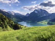 Pastos e pastagem alpinos no vale de Wagital ou de Waegital e pelo lago alpino Wagitalersee Waegitalersee, Innerthal fotografia de stock royalty free
