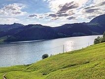 Pastos e pastagem alpinos no vale de Wagital ou de Waegital e pelo lago alpino Wagitalersee Waegitalersee, Innerthal imagem de stock