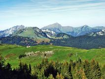Pastos y colinas del otoño en la meseta debajo de las cordilleras Churfirsten imagenes de archivo