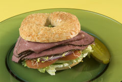 Pastrami bagel sandwich Stock Photography