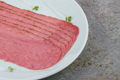 Pastrami. Beef Pastrami on a Slate Board Royalty Free Stock Images