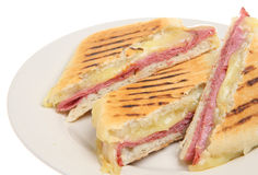 Pastrami & Cheese Panini. Pastrami and cheese panini or toasted, pressed sandwich Royalty Free Stock Photo