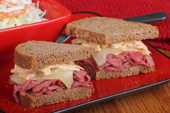 Pastrami and Cheese on Rye. Bread sandwich Stock Photo