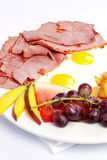 Pastrami and eggs Royalty Free Stock Photography