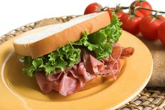 Pastrami and lettuce sandwich Royalty Free Stock Photos