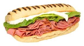 Pastrami Panini Sandwich Royalty Free Stock Photos