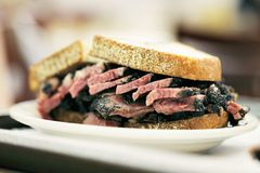 Pastrami on Rye. New York City food, Pastrami on rye sandwich served in a diner Royalty Free Stock Photo