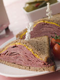 Pastrami on Rye Bread with Mustard Royalty Free Stock Image