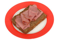 Pastrami on Rye Bread on a plate Stock Photos