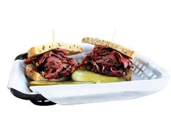 Pastrami Sandwich. Deli sandwich of pastrami on rye Royalty Free Stock Photo