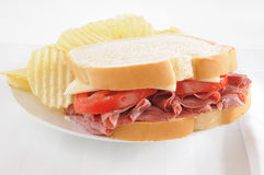 Pastrami sandwich with chips Royalty Free Stock Image