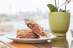 Pastrami Sandwich with a City View Stock Images