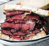 Pastrami sandwich rye bread. Kosher jewish delicatessen new york Stock Photo