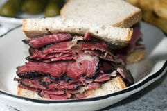 Pastrami sandwich rye bread Royalty Free Stock Photos