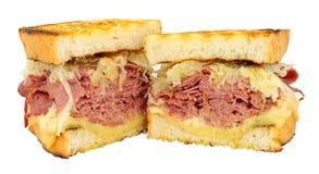 PastramiReuben Sandwiches Isolated On A vit bakgrund royaltyfria bilder