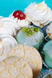 Pastries. Various pastries and cookies against blue background stock photo