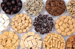 Pastries. Various types of pastries on a transparent plastic container Stock Photography