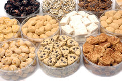 Pastries. Various types of pastries on a transparent plastic container Royalty Free Stock Image