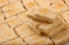 Pastries. Pattern of rectangular-shaped pastry with egg yolk wash Royalty Free Stock Images