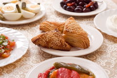 Pastries. Plates with various pastries and brunch foods Stock Images