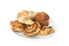 Pastries adn breakfast croissants stock photography