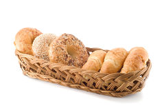 Pastries in a basket. Isolated on a white background Royalty Free Stock Image