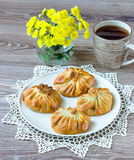 Pastries on a beige plate with a napkin Royalty Free Stock Photos