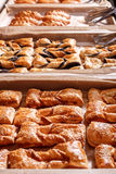 Pastries and bread in a bakery. Various Puff pastry, Croissants Stock Photo