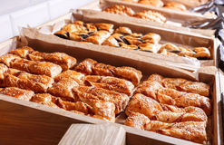 Pastries and bread in a bakery. Various Puff pastry, Croissants Stock Image