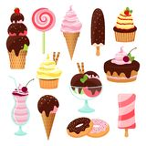 Pastries cakes and ice cream icon set vector illustration